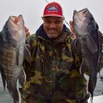 Man Holding 2 Black Sea Bass