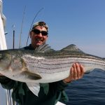 Middle Aged Man Holding Medium Striped Bass