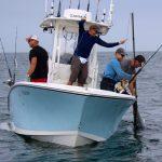 Fisherman on Boat Catching Tuna